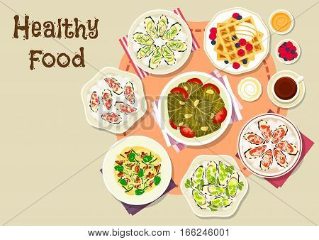 Healthy food for lunch menu icon of mushroom pasta with cheese, sugar waffles with ice cream and berry, stuffed grape leaf with rice, fresh oyster with tarragon, celery, cucumber and watermelon