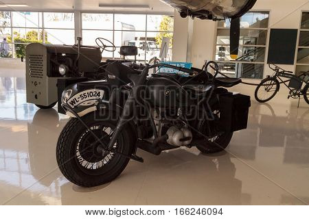 Santa Ana CA USA - January 21 2017: Grey 1944 BMW R-75 motorcycle and sidecar displayed at the Lyon Air Museum in El Santa Ana California United States. It was used during World War II. Editorial use only.