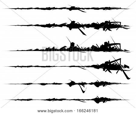 Set Of Textured, Rough And Grungy Elements Isolated On White. Elements With Scratchy, Sketchy, Damag