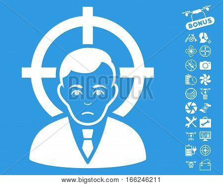 Victim Businessman icon with bonus uav service pictograph collection. Vector illustration style is flat iconic white symbols on blue background.