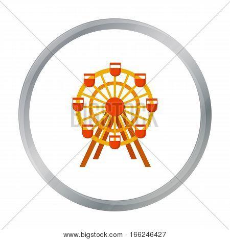 Ferris wheel icon cartoon. Single building icon from the big city infrastructure cartoon. - stock vector