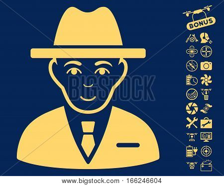 Agent icon with bonus airdrone tools pictures. Vector illustration style is flat iconic yellow symbols on blue background.