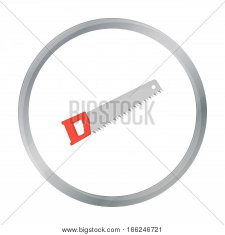 Hand saw icon in cartoon style isolated on white background. Build and repair symbol vector illustration. - stock vector