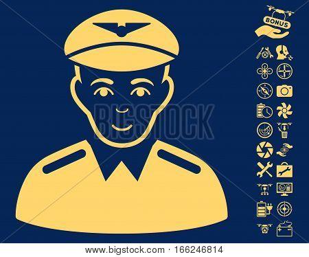 Aviator icon with bonus quadrocopter service design elements. Vector illustration style is flat iconic yellow symbols on blue background.