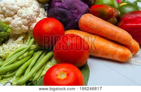 ecologicaly clean Different raw vegetables background.Healthy eating. stock photo
