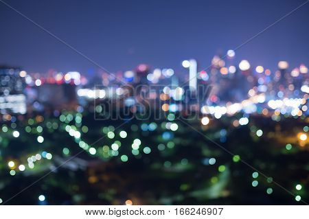 Blurred city view at night. Concept of capital city, Investment and Business