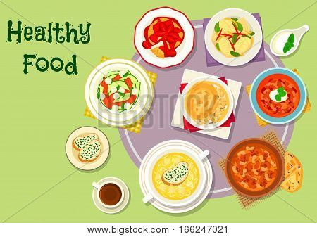 Hearty food for dinner icon of chicken and beef soups with bean, tomato and chilli, cheese cream soup, chicken pie, fried cheese topped with fruit, zucchini mozzarella salad, caramelized fish