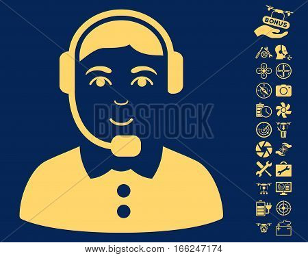 Call Center Operator icon with bonus uav service pictograms. Vector illustration style is flat iconic yellow symbols on blue background.