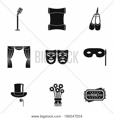 Theatrical performance icons set. Simple illustration of 9 theatrical performance vector icons for web