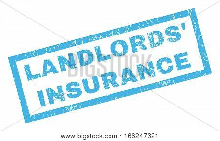 Landlords' Insurance text rubber seal stamp watermark. Tag inside rectangular banner with grunge design and dust texture. Inclined vector blue ink sticker on a white background.