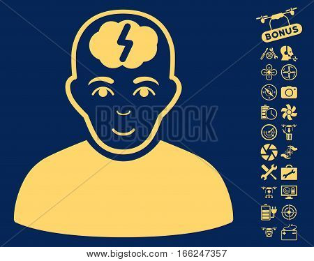 Clever Boy pictograph with bonus copter service symbols. Vector illustration style is flat iconic yellow symbols on blue background.