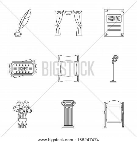 Entertainment in theatre icons set. Outline illustration of 9 entertainment in theatre vector icons for web