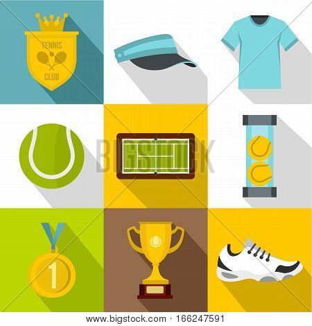 Sport with racket icons set. Flat illustration of 9 sport with racket vector icons for web