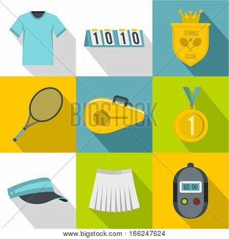 Play in tennis icons set. Flat illustration of 9 play in tennis vector icons for web