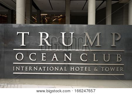 July 2, 2016 Panama City, Panama: the sign at the entrance of the Trump Ocean Club international hotel and tower