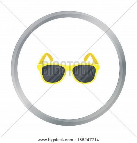 Yellow trendy sunglasses icon in cartoon design isolated on white background. Brazil country symbol stock vector illustration. - stock vector