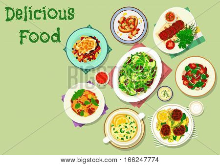 Comfort food for dinner icon of pasta with beef, vegetable casserole moussaka, beef roll, toast with bean stew, cucumber salad with yogurt sauce, bean tomato salad with beef jerky, quinoa with lamb