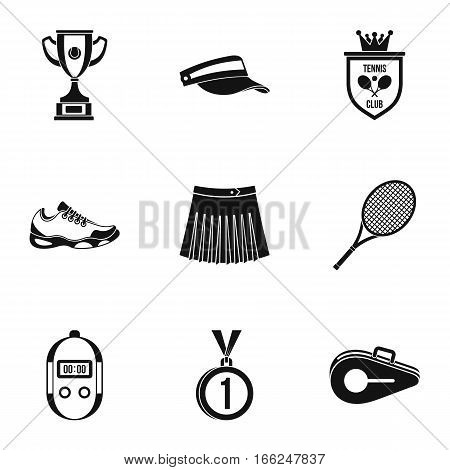 Active tennis icons set. Simple illustration of 9 active tennis vector icons for web