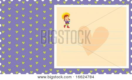 Square with lines over a heart with small umbrella girl