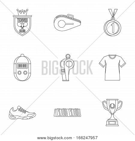 Big tennis icons set. Outline illustration of 9 big tennis vector icons for web
