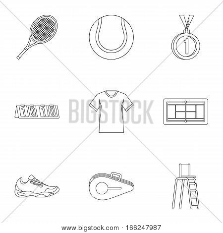 Sport with racket icons set. Outline illustration of 9 sport with racket vector icons for web