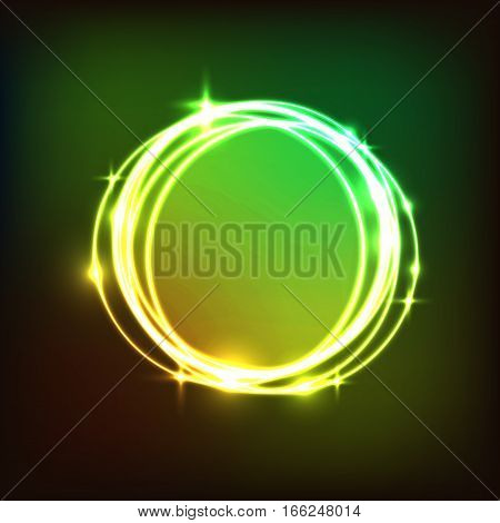 Abstract colorful circles neon background, stock vector