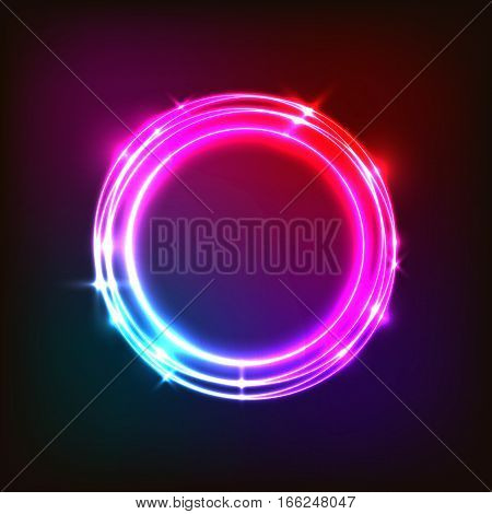 Abstract neon background with colorful circles, stock vector