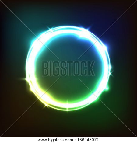 Abstract glowing colorful background with circles, stock vector