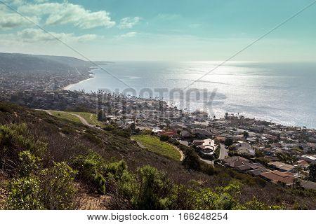 Coastline of Laguna Beach from an aerial view that shows Main Beach in Southern California USA