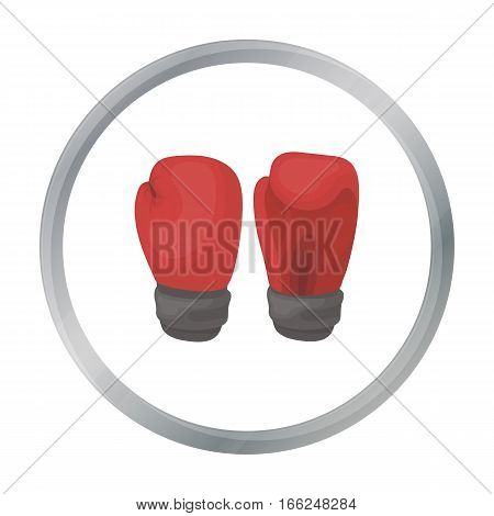 Boxing gloves icon in cartoon style isolated on white background. Boxing symbol vector illustration. - stock vector