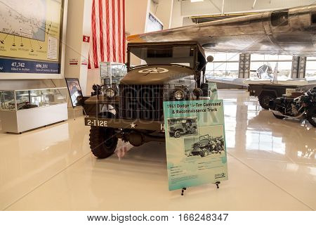 Santa Ana CA USA - January 21 2017: Army Green 1941 Dodge half-ton command and reconnaissance truck displayed at the Lyon Air Museum in El Santa Ana California United States. It was used during World War II. Editorial use only.