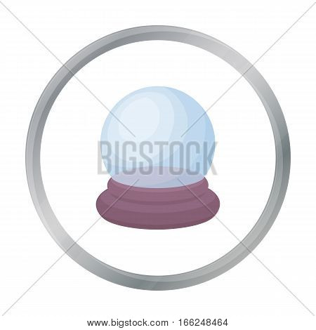 Crystal ball icon in cartoon style isolated on white background. Black and white magic symbol vector illustration. - stock vector