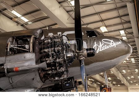 Santa Ana CA USA - January 21 2017: Douglas C-47 airplane called Dakota but now christened Willa Dean displayed at the Lyon Air Museum in El Santa Ana California United States. It was used during World War II. Editorial use only.