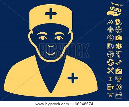 Medic pictograph with bonus nanocopter service images. Vector illustration style is flat iconic yellow symbols on blue background. poster