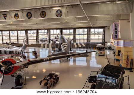 Santa Ana CA USA - January 21 2017: Douglas C-47 airplane called Skytrain displayed at the Lyon Air Museum in El Santa Ana California United States. It was used during World War II. Editorial use only.