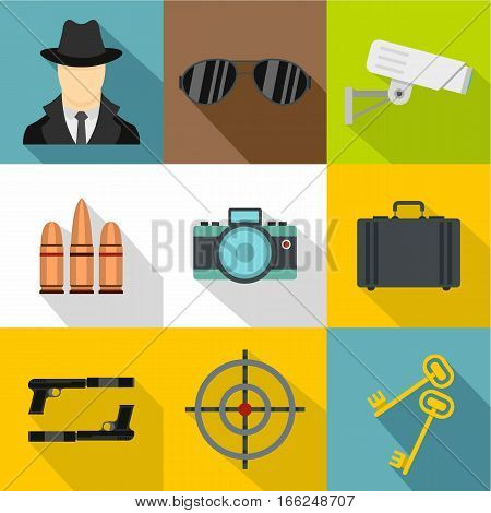 Detective icons set. Flat illustration of 9 detective vector icons for web