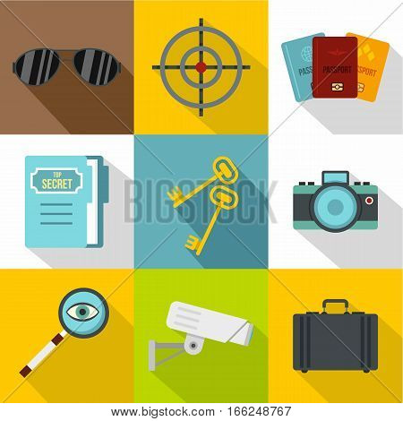 Secret agent icons set. Flat illustration of 9 secret agent vector icons for web