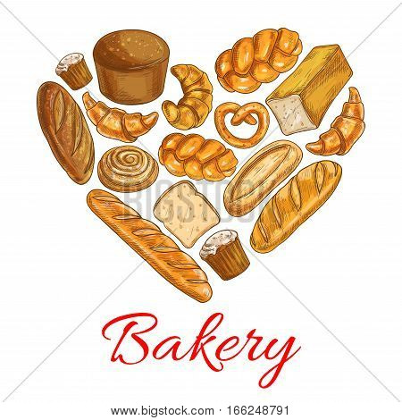 Bakery heart symbol. Vector sketched wheat and rye bread loaf, bagel, croissant, pretzel, sweet bun, cinnamon roll, muffin, dessert pie. Bakery shop poster