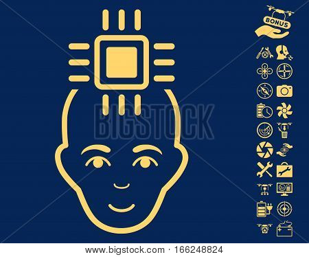 Neural Computer Interface pictograph with bonus uav tools symbols. Vector illustration style is flat iconic yellow symbols on blue background.