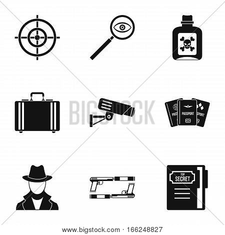 Detective icons set. Simple illustration of 9 detective vector icons for web