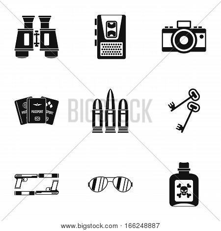 Secret agent icons set. Simple illustration of 9 secret agent vector icons for web