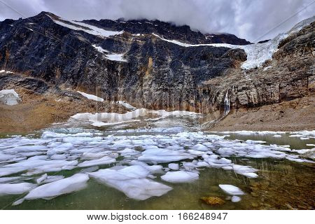 Glacier Lake. Angel Glacier at Mount Edith Cavell. Jasper National Park. Canadian Rockies. Alberta. Canada.