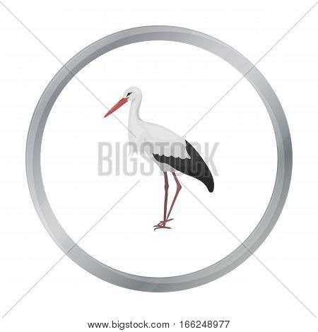 Stork icon in cartoon style isolated on white background. Bird symbol vector illustration. - stock vector