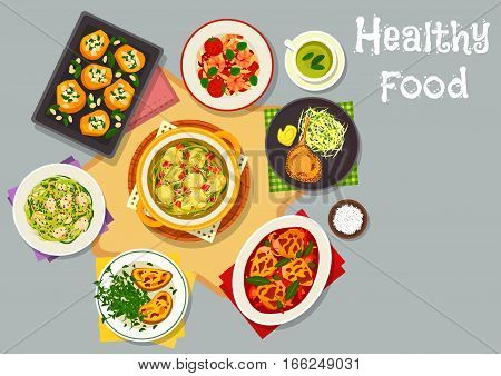 Healthy food for lunch menu icon with chicken vegetable stew, shrimp sausage pasta with tomato, cheese toast, pork chops, fried chicken with cabbage, baked pumpkin with rice, cabbage bread soup