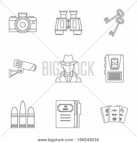 Surveillance icons set. Outline illustration of 9 surveillance vector icons for web