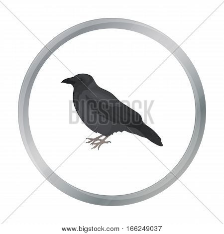 Crow icon in cartoon style isolated on white background. Bird symbol vector illustration. - stock vector