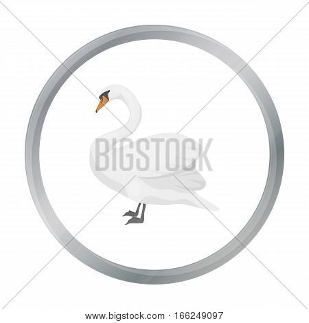 Swan icon in cartoon style isolated on white background. Bird symbol vector illustration. - stock vector