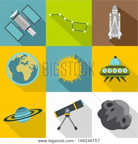 Universe icons set. Flat illustration of 9 universe vector icons for web