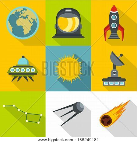 Galaxy icons set. Flat illustration of 9 galaxy vector icons for web
