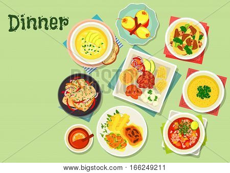 Dinner with exotic fruit dessert icon of vegetable meat stew, chicken rice, shrimp tomato soup ceviche, pepper sauce, fried pork with corn, fish in coconut sauce, potato cream soup, tamarillo dessert
